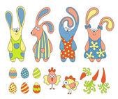 Simpatico cartone animato conigli e progettazione impostano elementi di pasqua — Vettoriale Stock