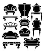 Set of graphical retro furniture items — Stock Vector