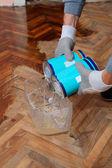 Home renovation, parquet lacquer — Stock Photo