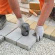 Construction site, brick paver — Stock Photo