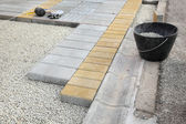 Construction site, brick paver — Stock Photo