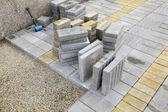Строительной площадки, кирпича асфальтоукладчик — Стоковое фото