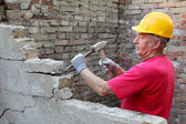 Construction site, old building demolishing — Stock Photo