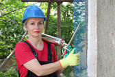 Construction site, styrofoam insulation — Stock Photo