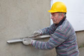 Construction site, thermal insulation of wall — Stock Photo