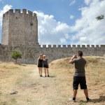 Tourists in Platamonas Castle — Stock Photo #50949251
