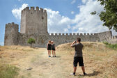 Tourists in Platamonas Castle — Stock Photo