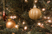 Christmas balls and lights — Stock Photo