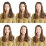 porträtt collage av attraktiv ung kvinna — Stockfoto