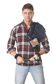 Male builder with work tools — Stockfoto