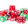 Poker chips and red casino dice — Stock Photo #26254701
