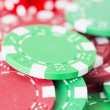 Poker chips and red casino dice — Stock Photo #26254735