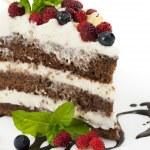 bit choklad kaka med choklad glasyr, vispad grädde, wil — Stockfoto