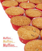 Muffins with sample text — Stock Photo