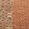 Stock Photo: Background of two different pattern brick wall together