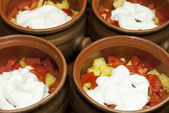 Vegetables for cooking with sour cream in pots — Stok fotoğraf