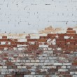 Background of vintage brick wall with stucco — Stock Photo