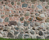 Background of two different pattern brick and stone walls togeth — Stock Photo