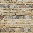 Background of old vintage limestone wall with granite stones  — Stock Photo