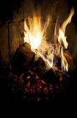 Fire burning in a fireplace. — Foto Stock
