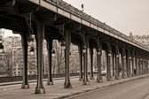 Viaduct de Passy in sepia — Stock Photo