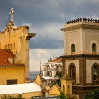 Stock Photo: View of buildings in Positano, Italy with approaching storm