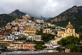 View of Positano, Italy from beach — Stok fotoğraf