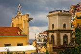 View of buildings in Positano, Italy with approaching storm — Stock Photo