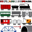 Stock Vector: Train Engine and Cars