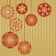 Christmas Ornaments on a Gold Background — Stock Vector #8996502