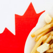 Poutine on Canadian flag — Stock Photo