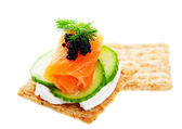 Salmon Caviar Canape — Stock Photo
