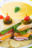 Soup and Sandwich — Stock Photo