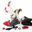 Pinup With Puppy — Stock Photo