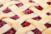 Lattice Top Cherry Pie Macro — Stock Photo
