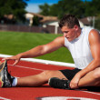Athlete Stretching — Stock Photo