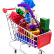 Christmas Shopping Cart — 图库照片