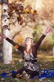 Throwing Leaves — Stock Photo