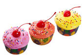 Triple Cherry Cupcakes — Stock Photo