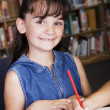Child in School Library — Stock Photo
