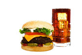 Cheeseburger With Cola — ストック写真