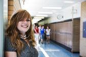 счастливый школьница — Стоковое фото