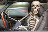 Skeleton Texting and Driving — Stok fotoğraf