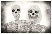 Skeleton Couple Portrait — Stock Photo