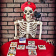 Tarot Reading Skeleton — Stockfoto