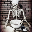 Stock Photo: Skeleton Cooking