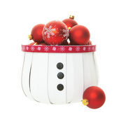 Red Balls in Snowman Basket — Stock Photo