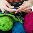 Stock Photo: Hands Knitting