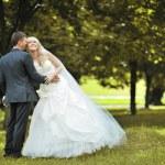 Happy wedding couple outdoors — Stock Photo