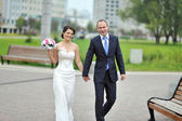 Happy bride and groom walking in a park while smiling at camera — Stock Photo